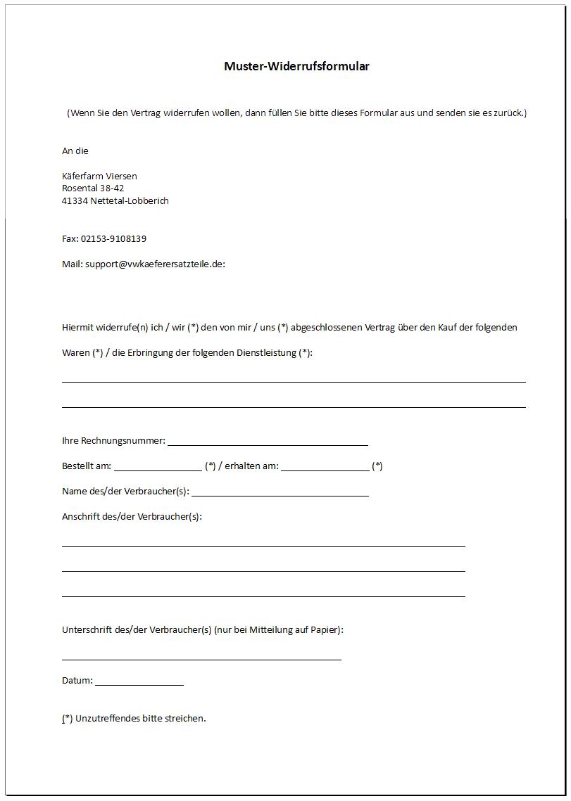 widerruf muster formular widerruf muster formular. Black Bedroom Furniture Sets. Home Design Ideas