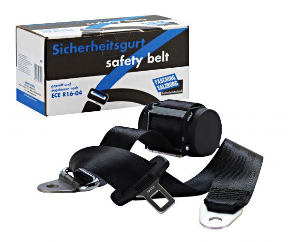 Sicherheitsgurt, schwarz mit Anbausatz für vorne