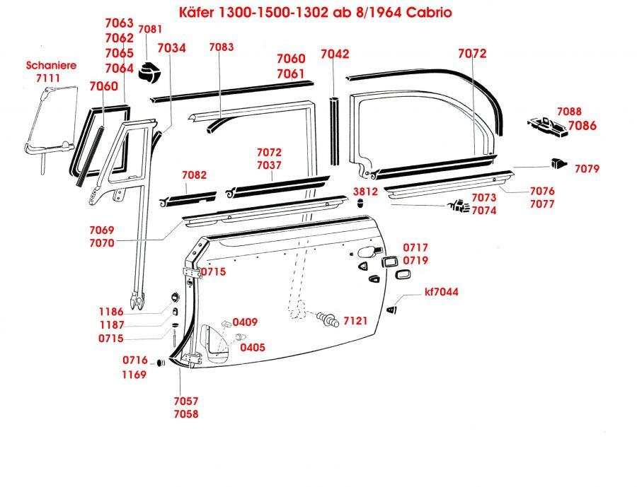 Käfer 1300-1500-1302 ab 8 1964 Cabrio