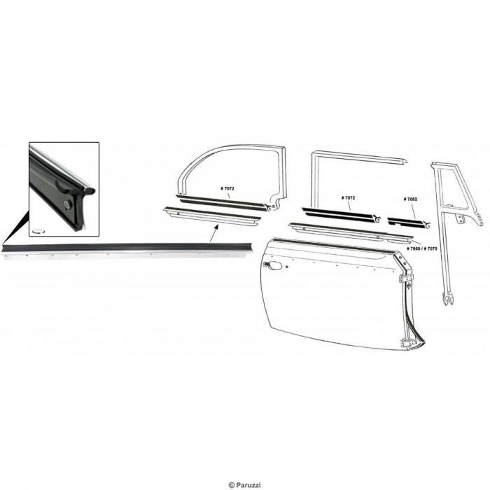 Äußere Fensterdichtung für Cabrio mit Chromleiste hinten rechts