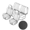 Sitzbezugset mit Kopfteil schwarz, grobmaschig