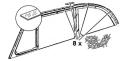 Montageleisten für die obere Rahmendichtung aus Aluminium, einschließlich Schrauben (8 Stück)